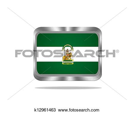 Drawing of Metal Andalusia flag. k12961463.