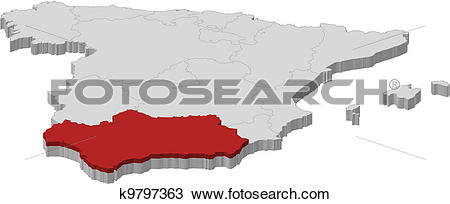 Clipart of Map of Spain, Andalusia highlighted k9797363.