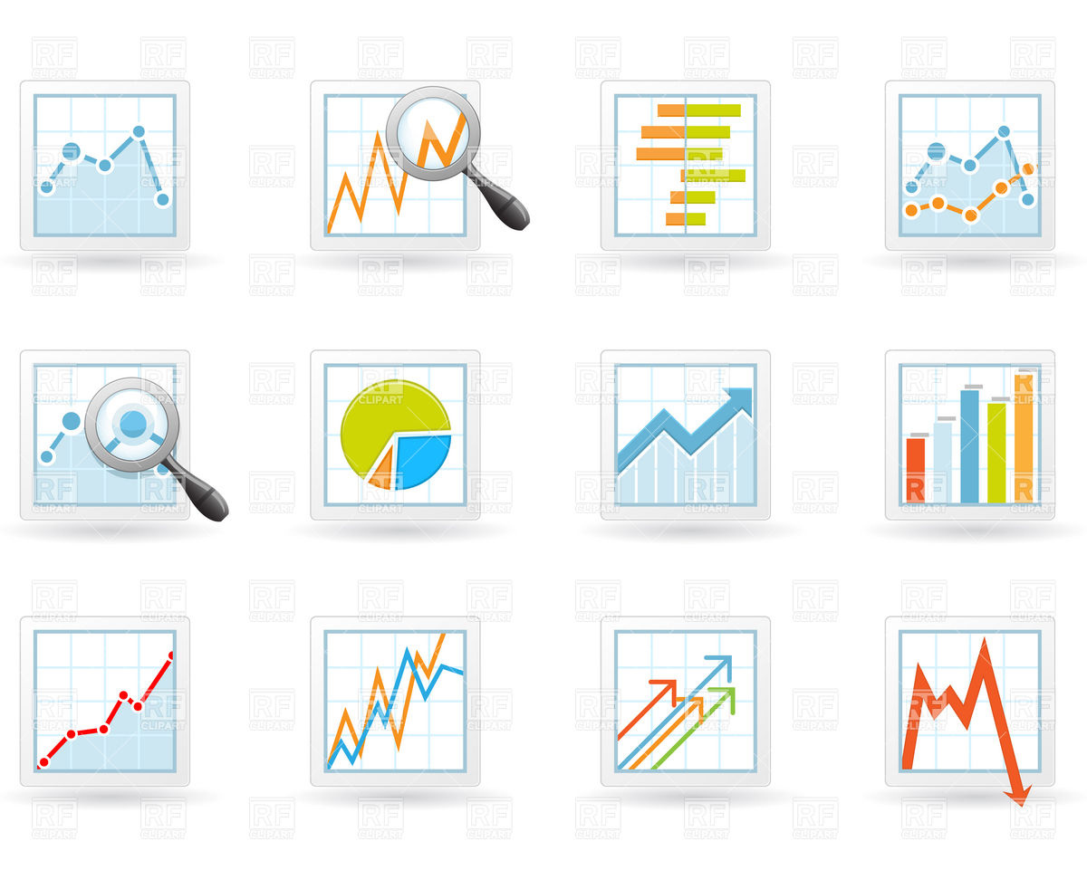 Statistics and analytics icons with charts and diagrams Stock Vector Image.