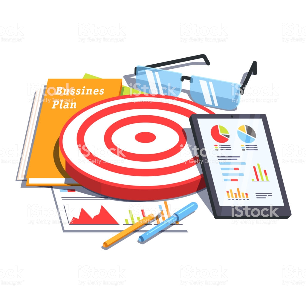 Business Plan Document Next To Analytics Report Flat Vector Clipart.