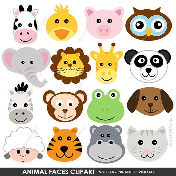 Animal Faces Clipart, Cute Farm Animals Clip Art, Animal.
