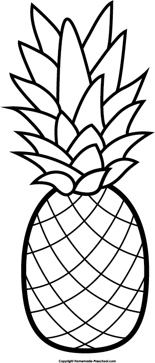 39 Pineapple Black And White free clipart.