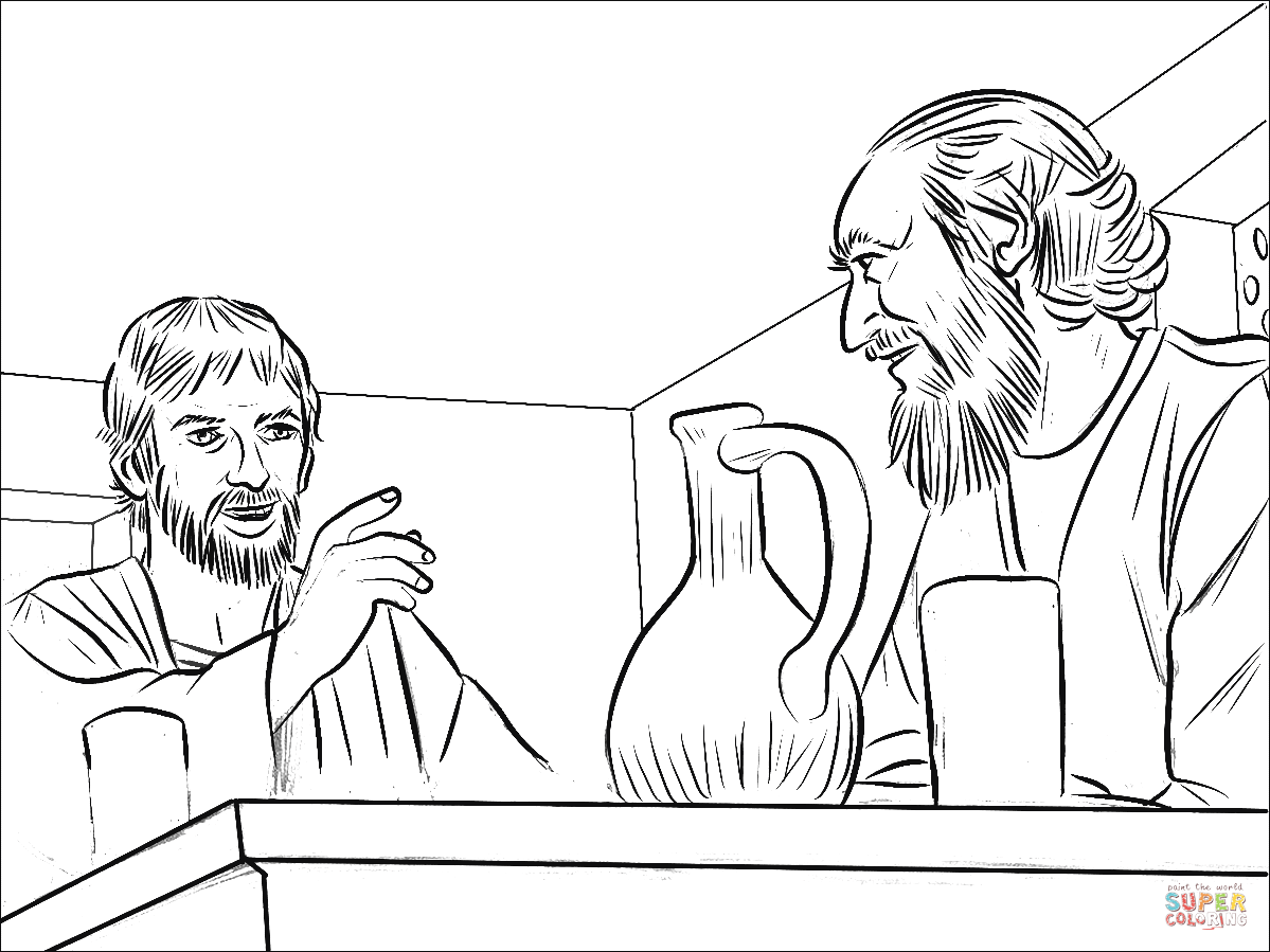 Ananias and Paul coloring page.