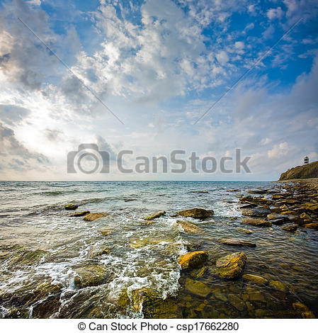 Pictures of Seascape. Scenic view of waves and clouds. Black Sea.