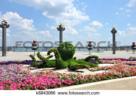Stock Images of Octopus, floral arrangement on the seafront of.