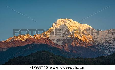 Stock Image of The Annapurna South in Nepal at sunrise k17987445.