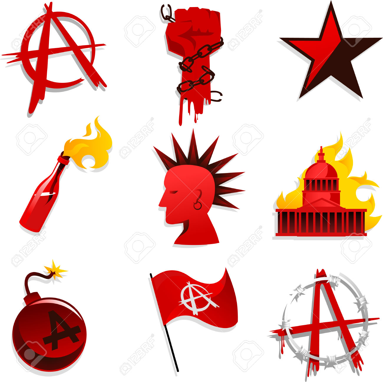 Anarchy Set Red Black Star Chain Hand And Bomb Flag Vector.