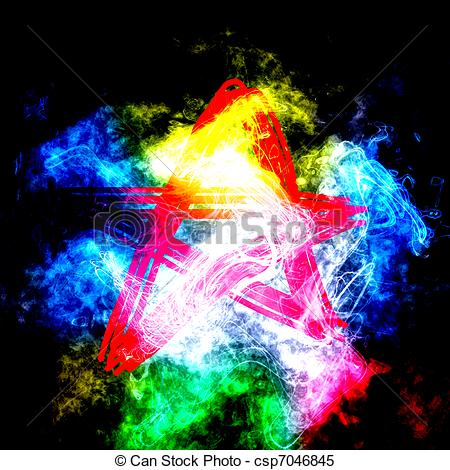 Stock Illustrations of Red anarchy star in color smoke csp7046845.