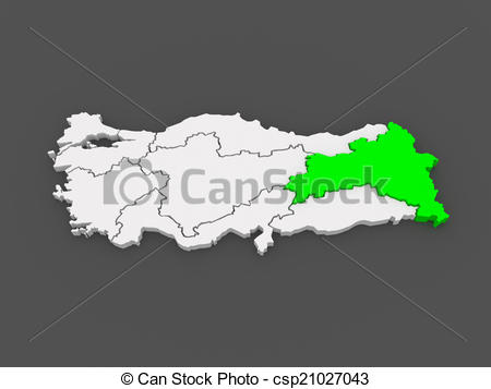 Drawing of Map of Eastern Anatolia. Turkey. 3d csp21027043.