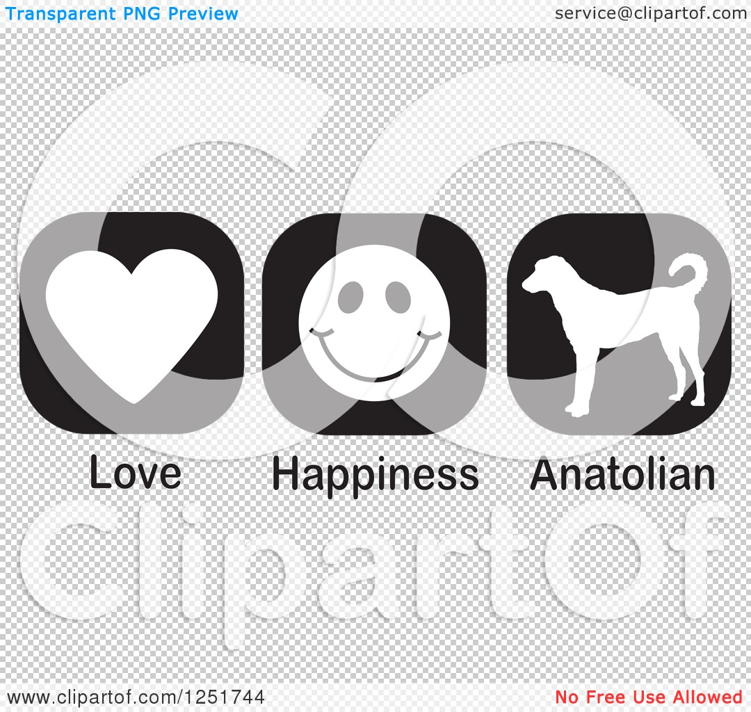 Clipart of Black and White Love Happiness and Anatolian Shepherd.