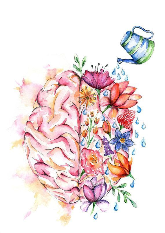 Watercolour Anatomy Art PRINT Flower Brain.