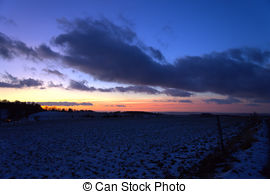 Picture of Evening sky with dark and red clouds in Lower Saxony.