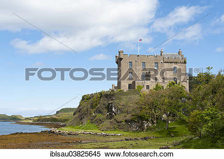 """Stock Image of """"Dunvegan Castle on Loch Dunvegan, ancestral home."""