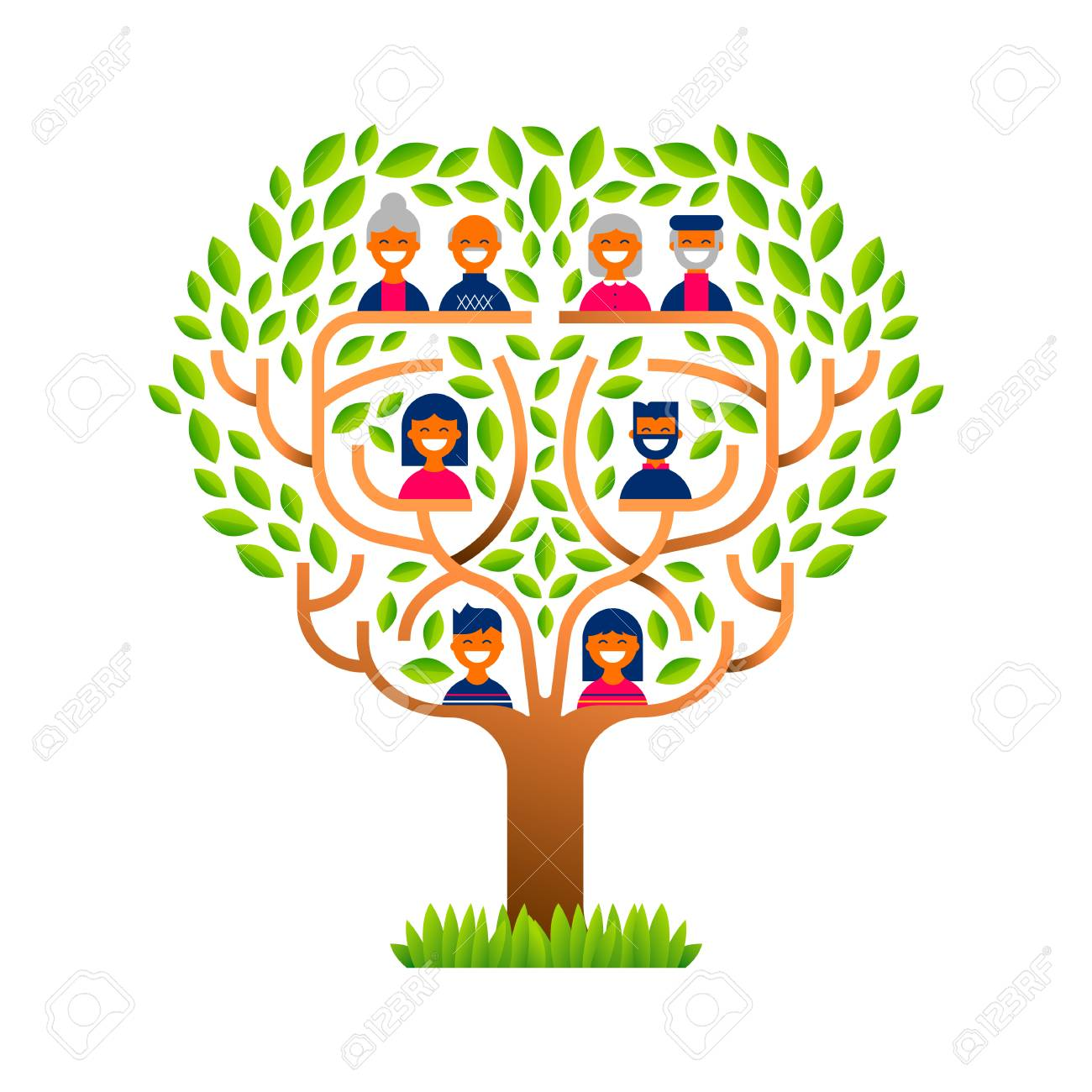 Big family tree template concept with people icons for life generations...