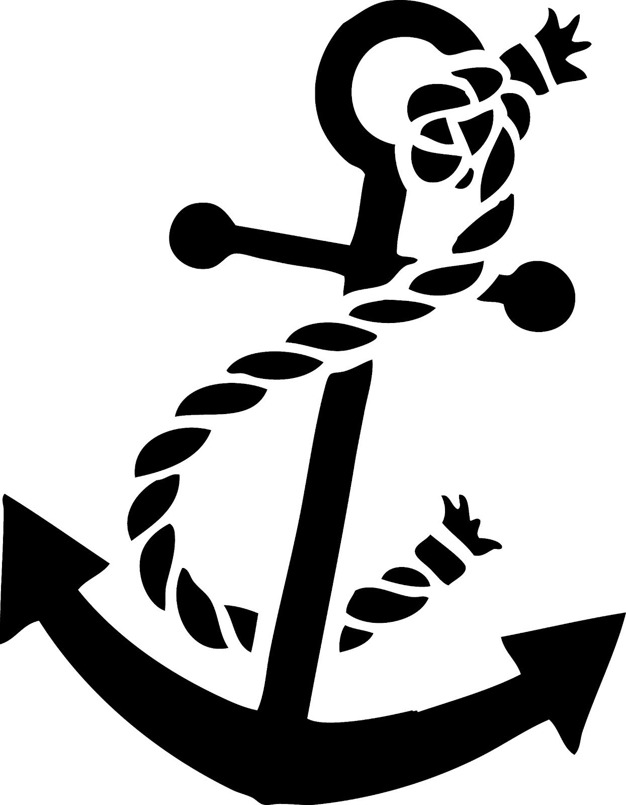 Anchor With Rope Silhouette.