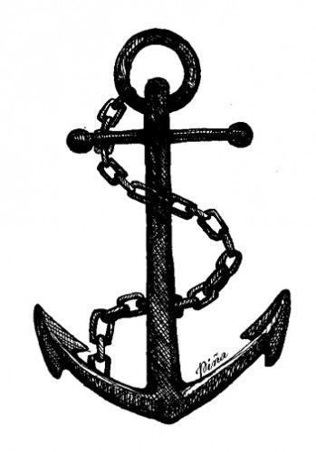 Anchor drawing with chain. Photo from www.pinastyles.com.