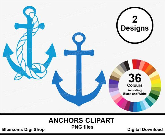 Anchor clipart, marine rope, digital download, sticker art, seaside clip  art, rainbow template, multi color, planner png, calendar graphic.