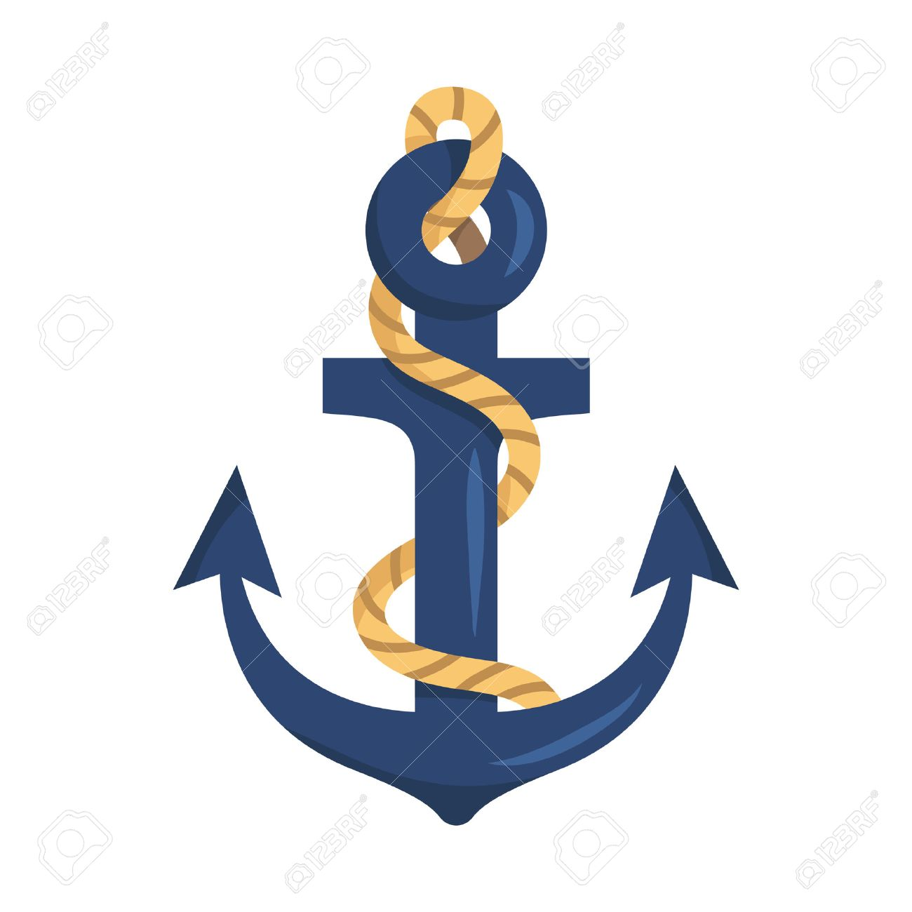 Illustration of stylized cartoon anchor with rope isolated on...