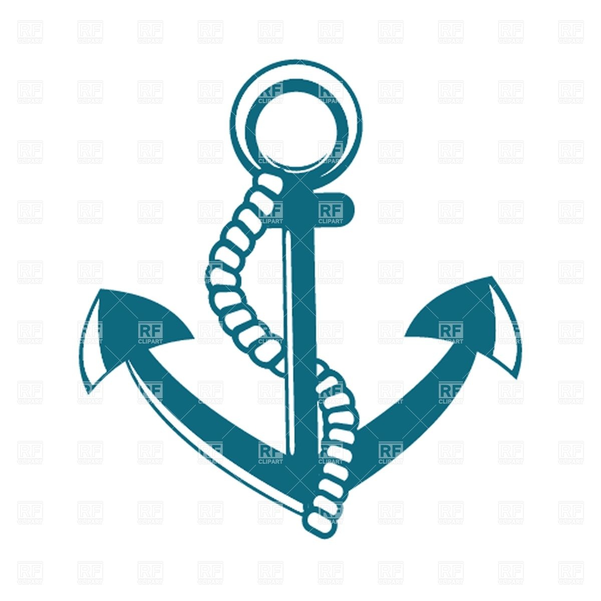 Anchor with rope Stock Vector Image.