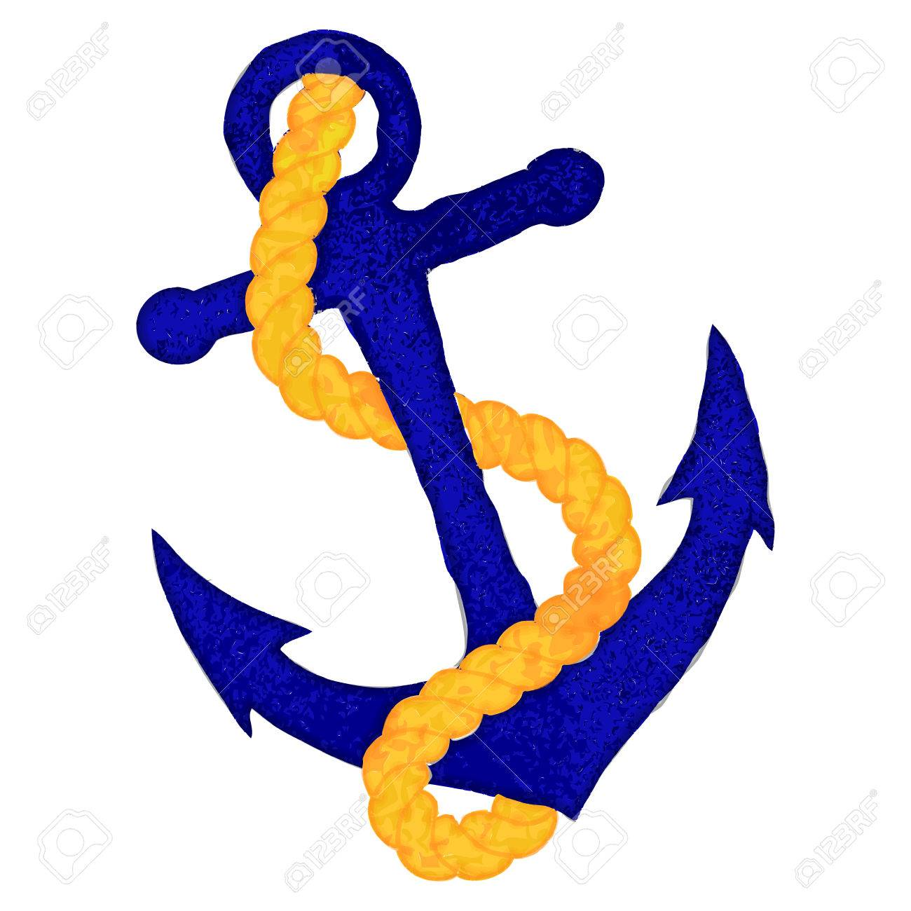 Vector Watercolor Style Nautical Anchor with Rope.