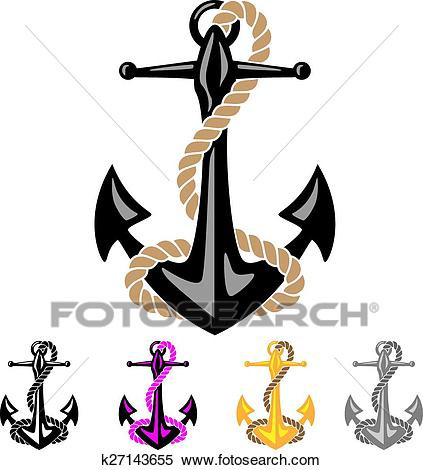 Anchor with Rope Clipart.