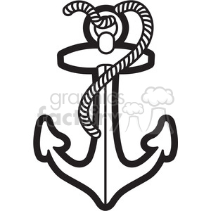 boat anchor with rope graphic illustration black white clipart.  Royalty.