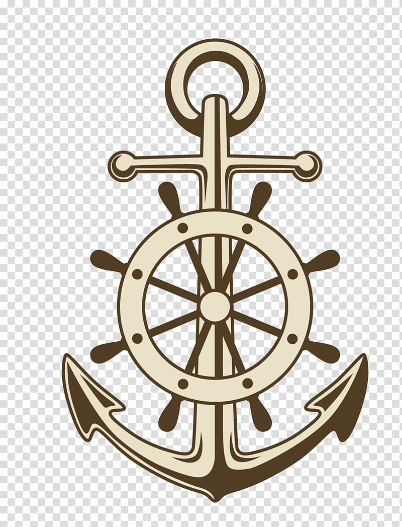 Anchor illustration, Anchor Ships wheel Paper , painted.