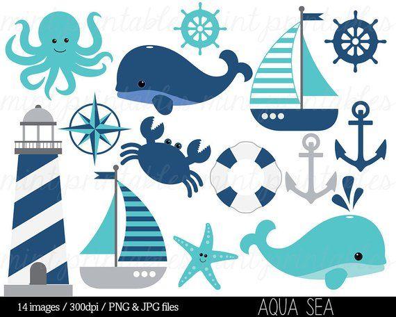 Nautical Clipart Clip Art, Anchor Clipart, Whale Clipart.