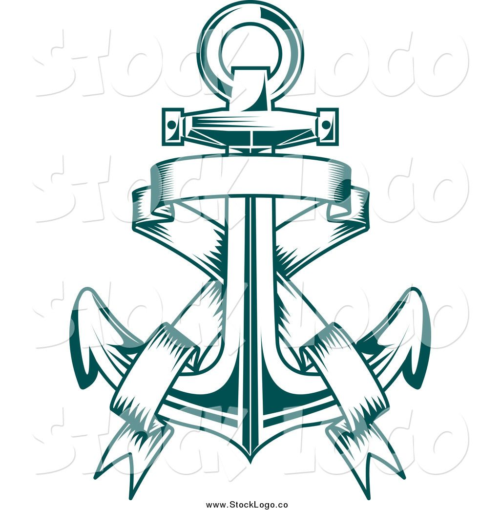 Vector Clipart of a Teal Anchor and Banner Logo by.