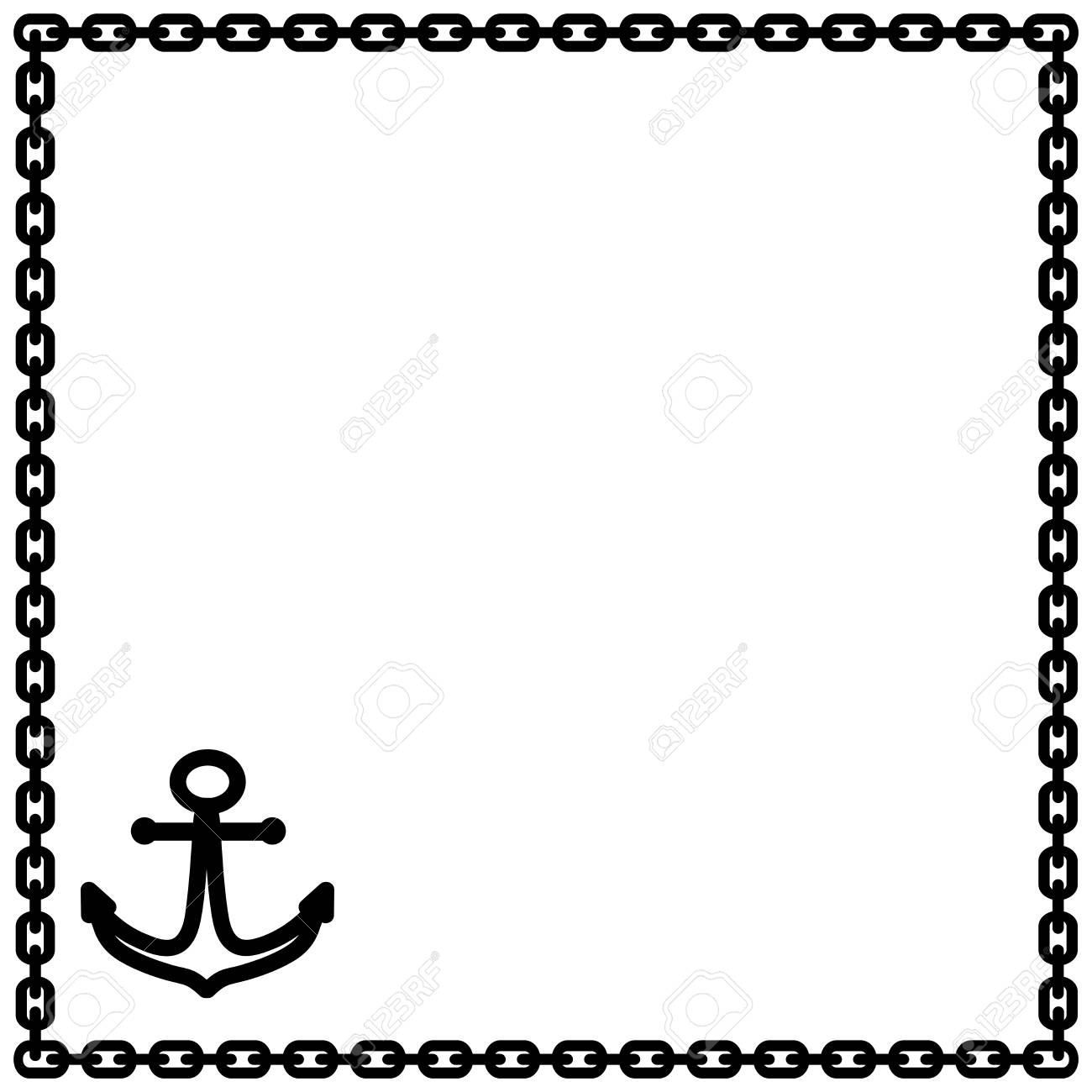 Marine frame. Black framework isolated on white background. Decoration...