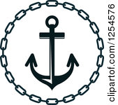 Anchor and chain clipart.