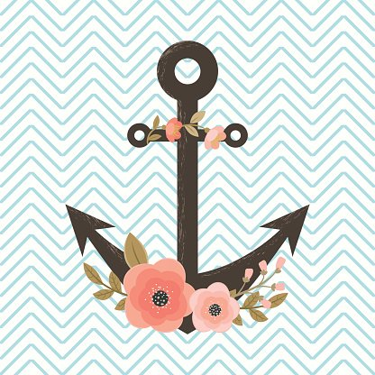 Floral anchor on chevron background Clipart Image.