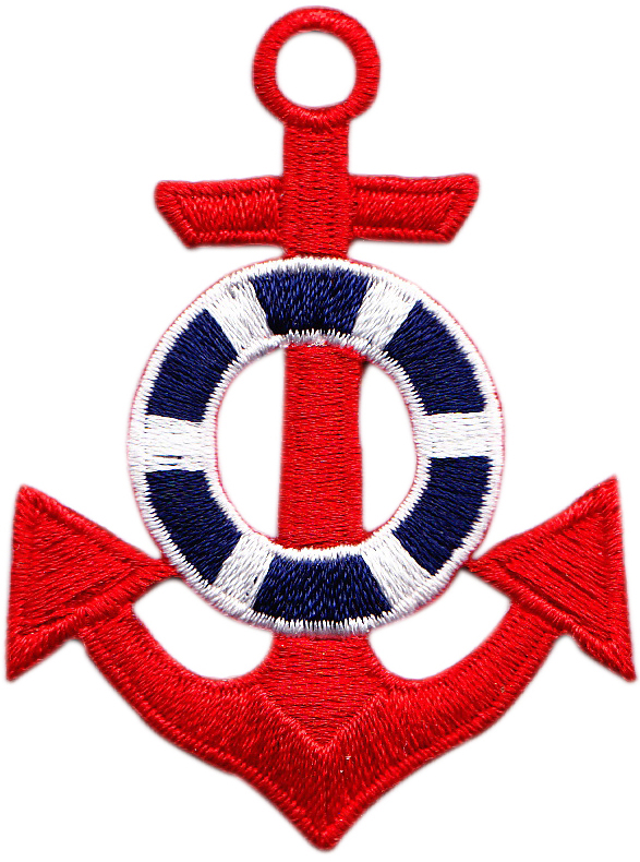 Red Anchor Embroidered Patch.