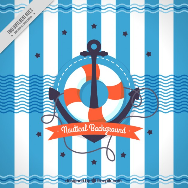 Anchor with life preserver background Vector.
