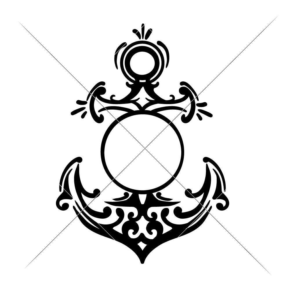 Anchor Monogram Frame svg png dxf eps.