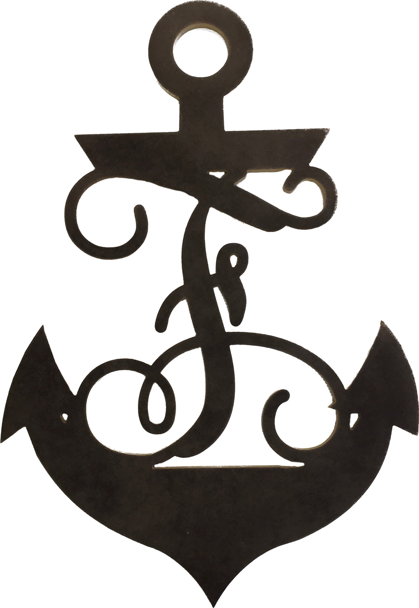 Monogram ~ Monogram Style Anchor with Vine Style Letter.