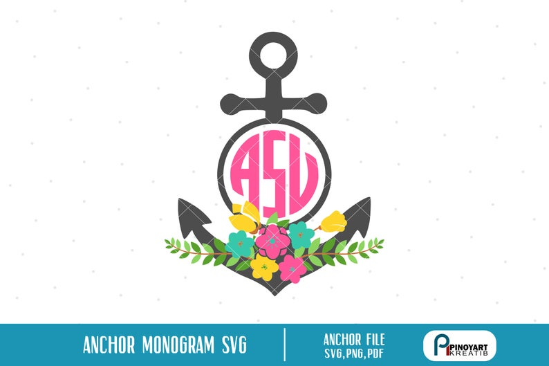 Anchor Monogram Svg, Anchor Svg, Anchor Monogram, Anchor Clip Art, Anchor  Graphics, Anchor Cut File, Flower Monogram Svg, Svg, Cut File.