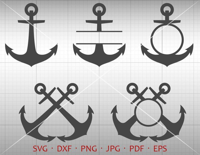 Anchor SVG, Anchor Monogram Frame, Sailors Anchor Clipart Silhouette Cricut  Cut Files.
