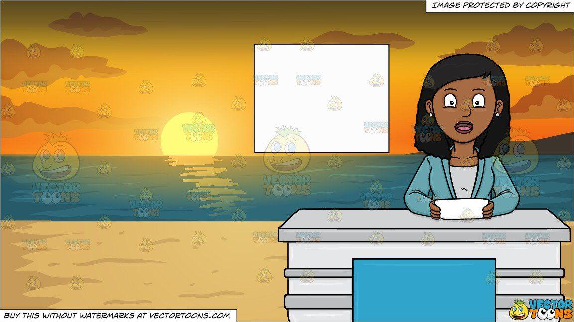 clipart #cartoon A Black Female News Anchor Reporting The.