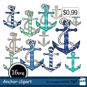 Anchor clipart Nautical clip art+Outline black and white clipart.