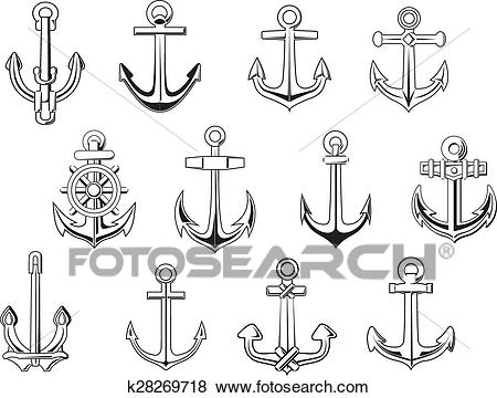 Black outline anchor design elements Clip Art.