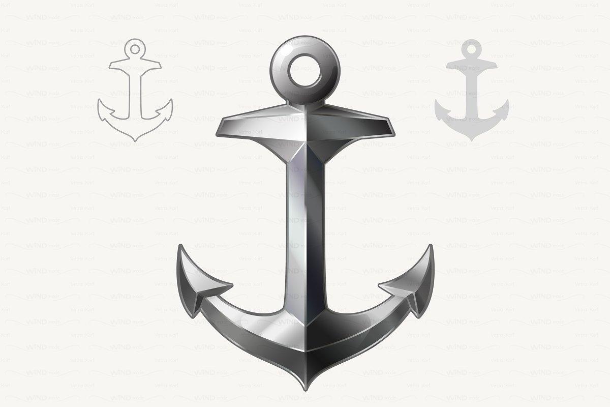 ⚓ vector Silver Anchor.