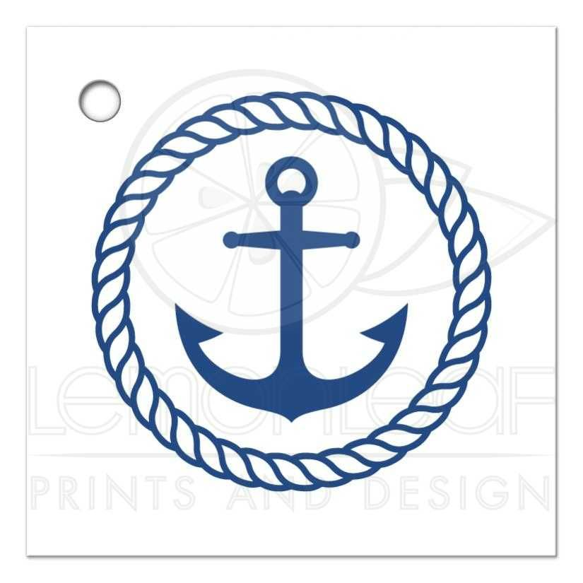 Nautical bridal shower favor thank you tag with anchor.