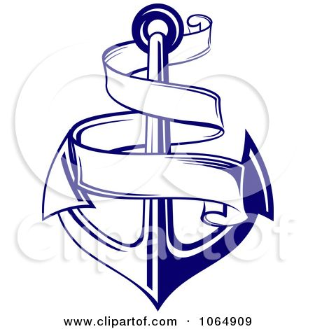 Clipart Blue Anchor And Banner.