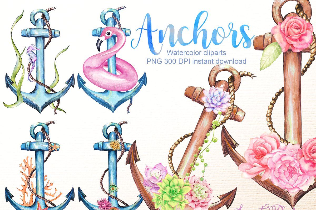 Anchors clipart ~ Illustrations ~ Creative Market.