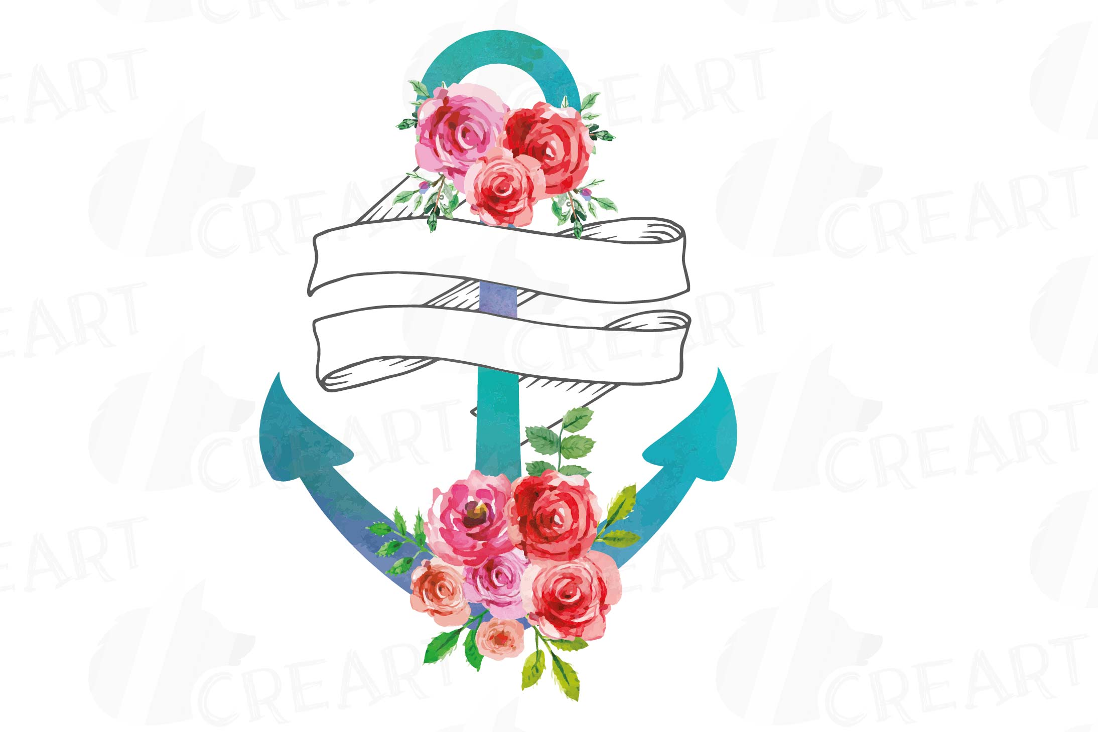 Hope anchors the soul watercolor floral clip art set.