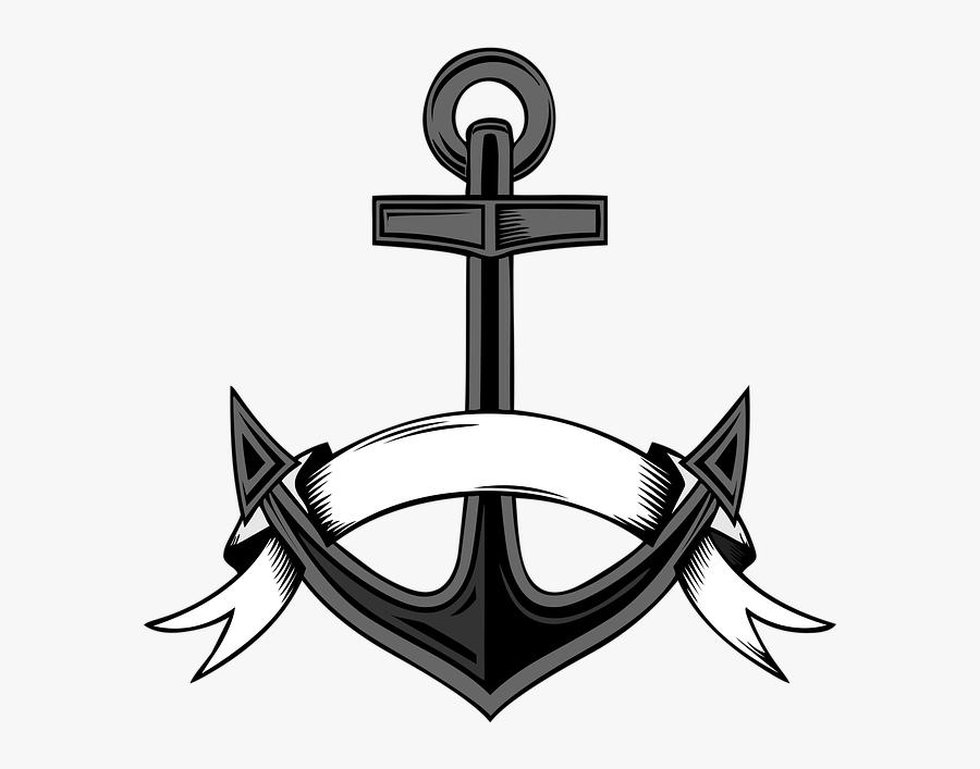 Anchor, Ribbon, Sea, Sailing, Retro.