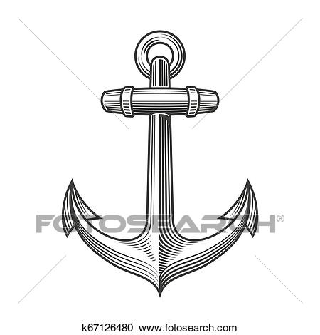 Nautical Anchor with rope Clipart.