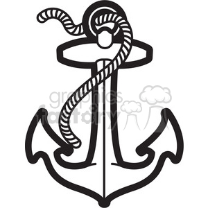 anchor with rope design tattoo illustration clipart. Royalty.