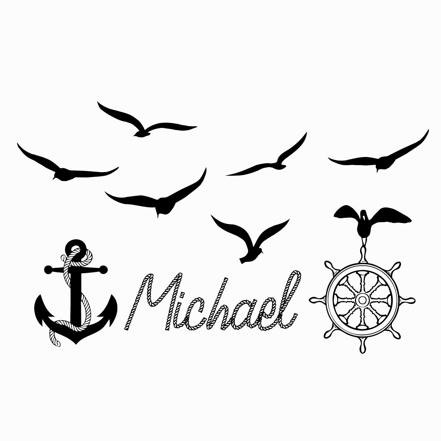KOTWDQ Name WALL DECAL BOY Nautical Anchor Ship Wheel Seagulls Nursery Kids  Baby Boys Room Vinyl Sticker Decals Name Nautical Wall Decor x267 22x34.